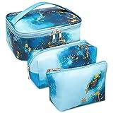 3 Stück Make Up Tasche Kulturbeutel Tragbar Reise PU-Leder Schminktasche Kosmetiktasche Mit wasserbeständig und strapazierfähigem (Marmor Blau)