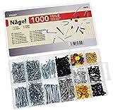 1000 Nägel und Stifte im Set, 14 verschiedene Arten und Größen im Sortimentskasten