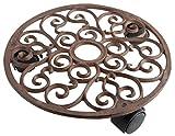 Esschert Design Pflanzentrolley, rund, rostbraun, 29 x 29 x 5.8 cm, TG39