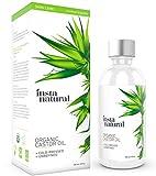 InstaNatural Rizinusöl – 100% reines&zertifiziertes Bio-Öl für Haut (Gesicht&Körper), Haare und Nägel - Kaltgepresster&unraffinerter Feuchtigkeitsspender für gesunde Haut – 120 ml