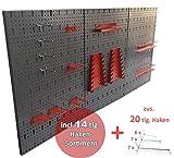 Kreher Große Werkzeug Lochwand 40 Teile. Maße ca. 120 x 58 cm, einbrennlackiert in Grau. Mit XXL Haken Sortiment zur Aufhängung von Werkzeugen.