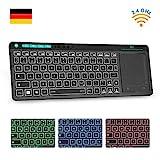 Rii K18 Plus TV Tastatur Kabellose, Funk Tastatur mit Touchpad, beleuchtet Tastatur mit 3 LED Hintergrundbeleuchtung für Smart TV/Laptop/Mac/PC/Android/Windows (Deutsch Layout,Schwarz)