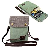 Entzückende Leinwand Damen Mädchen kleine Tasche Umhängetasche Schultertasche Handytasche für iPhone 6S Plus iphone 7 Plus Samsung Galaxy Note 5 Blackberry 8300 HTC One Max Sony Xperia Z3 Z5 (Grün)
