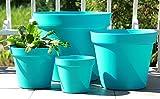 Wamat Blumenkübel Blumentopf Pflanzkübel Pflanztopf 4 Größen / 8 Farben S - XXLNeu!! (Durchmesser:15 cm, türkis)