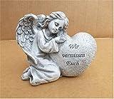 Home3010 *Grabengel am Herz Grabschmuck Grabdeko Engel *Wir vermissen Euch* grau-antik li