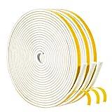 Yotache Fensterdichtung, Dichtungsband Selbstklebendes Schaumstoffband mit hoher Dichte 6mm(B) x 3mm(D) kochheld Weiß für Türen Siegel Schalldämmung Super Klebrig (3 Rollen je 5m lang)