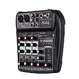 Muslady Mischpult AI-4 Kompakt Soundkarte Digital Audio Mixer 4-Kanal BT MP3 USB-Eingang + 48V Phantomspeisung zum Musikaufnahme DJ-Netzwerk Live-Übertragung Karaoke