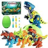 Alyoen Dinosaurier Spielzeug für Kinder,Montage Toys mit Elektrische Bohrmaschine,Dinosaurier Montage Spielzeug DIY mit Dino Egg Engineering Spielset für Jungen Mädchen