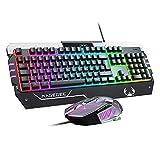Anivia USB RGB Gaming Tastatur und Maus Combo, GT817 104 Tasten Regenbogen Tastatur und Maus Set, Computer Tastatur USB Kabel Maus für Windows PC Gamer (RGB Backlit)
