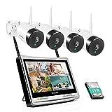 Überwachungskamera Set,Jennov 5MP WLAN Überwachungskamera Set Aussen mit Monitor 8CH 12 Zoll NVR...