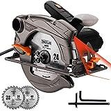 Kreissäge, TACKLIFE Akku Kreissäge 1500W 4700U mit Laser, Max Schnitttiefe: 90°: 63mm / 45°: 45mm, 2 Klingen (24T, 40T), Doppelter Sicherheitsschalter, zum Scheiden von Kunststoff und Metall - PES01A