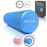 High Pulse® Faszienrolle | Pilates Rolle inkl. Fitnessband + Gratis Übungsposter – Multifunktionale Schaumstoffrolle ideal für Muskelkräftigung & Massage der Faszien (Blau | 43 cm)