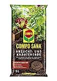 COMPO SANA Anzucht- und Kräutererde mit 6 Wochen Dünger für alle Jung- und Kräuterpflanzen, Kultursubstrat, 5 Liter,Braun