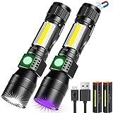 UV Taschenlampe 3 in 1 UV Lampe, LED Taschenlampe USB Aufladbar Magnet Zoombar, Banral Wasserdicht...