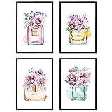 Din A4 Kunstdruck 4-teilig - ungerahmt - Parfum Flakon Beauty Luxus Make up Aquarell Blumen Druck Poster Bild