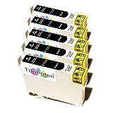 5X Premium Tintenpatronen kompatibel für Epson Stylus SX 205, SX 210, SX 215, SX 218, SX 400. - 5X BK - Lstg: 18ml