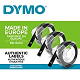Dymo S0847730 Vinyl-Prägeetiketten (Rolle 9 mm x 3m, weißer Druck auf schwarzem Untergrund,...