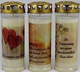 Kerzen Junglas 3 Stück Grablichter, Grabkerzen, 3er Set mit Spruch und Motiv, Größe 21x7,5 cm - Brenndauer ca. 7 Tage je Grablicht – 3863 – Elegante Gedenkkerzen, Trauerkerzen mit Spruch.