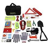 Auto Emergency Kit 99 in 1 Multifunktionale Pannen Notfall Werkzeugset KFZ Pannenhilfe Set mit Erste Hilfe Kasten, Warndreieck, Warnwesten, Notfallhämmer, Abschleppseile, Klappspaten Schaufel, etc
