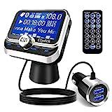 Clydek FM Transmitter Auto, Bluetooth 5.0 Wireless Autoradio-Adapter mit QC3.0 & 5V / 2.4A Dual...