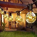 Lichterkette Außen Strom G40 9.5M Lichterkette, 30+3 Lichterkette Glühbirnen E12 /Strombetrieben/IP44 Wasserdicht, Lichterkette Außen für Garten, Bäume, Terrasse, Weihnachten, Hochzeiten, Partys