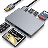 CSL - Kartenlesegerät USB 3.0 – 5 in 1 Kartenleser – externer Cardreader Kartenleser - paralleler Zugriff auf 5 Slots – CF SD SDXC SDHC Micro SD Micro SDXC SDHC, MS, M2 – vergoldete Kontakte - grau