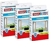 tesa Insect Stop STANDARD Fliegengitter für Fenster im 3er Pack - Insektenschutz zuschneidbar - Mückenschutz ohne Bohren - 3 x Fliegen Netz anthrazit - 130 cm x 150 cm
