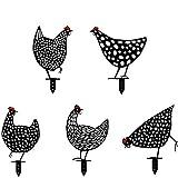 MOZX 5 Stück Rost Hühner Deko Garten, Metall Huhner Gartenstecker, Chicken Yard Art Gartenschilder, Huhn und Hühner Garten Deko, Rasen Hühner Garten Im Jahr 2021, 30 * 35Cm, Schwarz
