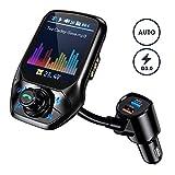 Bluetooth FM Transmitter, OMORC Intelligente Suche Bluetooth Transmitter, 1.8' Farbbildschirm Kfz Radio Adapter, Auto Mikrofon Freisprecheinrichtung mit QC 3.0/3 USB Ports/U Disk/Aux
