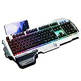 RedThunder K900 Halbmechanisch Gaming Tastatur [Version 2021], QWERTZ DEUTSCH Layout, RGB Beleuchtete Tastatur, Ganzmetallpaneel, 25 Tasten Anti-Ghosting, Tastatur Für PC/Laptop/PS4/Xbox One