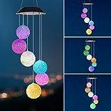 Windspiel Solarleuchten LED Windspiele für Draußen mit 7 Farbwechsel Windspiele Hängelampe Wasserdichte Gartendekoration für Outdoor Terrasse Hof Party (Ball)