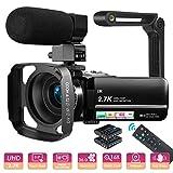 Videokamera Camcorder UHD 2.7K 36MP Vlogging Kamera für YouTube IR Nachtsicht 3.0' IPS Touchscreen 16X Digital Zoom, mit Mikrofon, Gegenlichtblende, Handstabilisator, Fernbedienung, 2 Batterien
