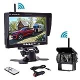 Kabellos Rückfahrkamera, LCD TFT Funk Rückfahrkamera Monitor Set Wasserdicht 18 LEDs Nachtsicht Up Auto-Kamera Wireless Einparkhilfen für Anhänger, Bus, LKW, Pferdeanhänger, Schulbus