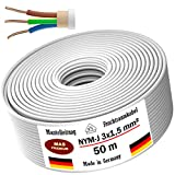 Feuchtraumkabel Stromkabel 5, 10, 15, 20, 25, 30, 35, 40, 50, 60, 70, 75, 80, 90 oder 100m Mantelleitung NYM-J 3x1,5 mm² Elektrokabel Ring für feste Verlegung (50m)