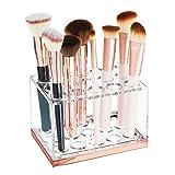 mDesign praktischer Kosmetik Organizer – dekorative Kosmetik Aufbewahrungsbox für Wimperntusche und Lippenstift – Ablage mit 15 Fächern zur Schminkaufbewahrung – durchsichtig und rotgold