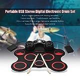 SISHUINIANHUA Portable USB-Stereo-Digital-elektronische Trommel-Ausrüstungs-Set 7 Silicon Drum Pads Einbau-Doppel Lautsprecher unterstützt die Aufnahme-Funktion,Rot