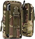 ONEFLOW Survival Case für alle CAT Handys - Gürteltasche aus Nylon, Handytasche mit Karabiner, Handy Gürtel Tasche Outdoor Handyhülle, Grün Camouflage