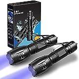 LETION UV-Taschenlampe 2 in 1 [2er-Pack], UV-Licht LED Schwarzlicht Taschenlampen mit 500LM...