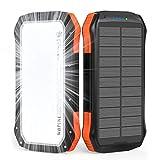 WBPINE Solar Powerbank 20100mAh,Wasserdicht Solar Ladegerät mit LED Licht und Dual 2.1 A-Ausgängen,Tragbares Handy Ladegerät Externer Akku kompatibel Phone Samsung Camping und Outdoor