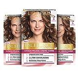 L'Oréal Paris Excellence Creme Permanente Haarfarbe, 100% Grauhaarabdeckung, Haarfärbeset mit Coloration, Shampoo und 3-fach Pflegecreme, 6 Dunkelblond, 3 x 268 g