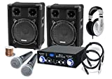 McGrey DJ Karaoke Komplettset PA Anlage Party-1200 (Lautsprecher, 2 x 400 Watt, Bluetooth-Endstufe, Verstärker, Lautsprecherkabel, Kopfhörer, Mikrofon, Klemme, Reduziergewinde, Etui, Mikrofonkabel)