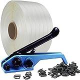 19mm TEXTIL UMREIFUNGSSET Hotmelt  Set 500m Textilband  + 500 Klammern  + 1 Spanngerät