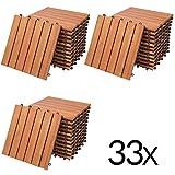 Deuba 33x Holzfliesen Eukalytus | FSC-zertifiziertes Eukalyptusholz | 30x30 cm Fliese Stecksystem Mosaik | Zuschneidbar Terrasse Balkon Set