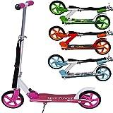 Deuba Scooter Roller Tretroller Cityroller   Wheel 205 mm PU-Rollen   klappbar   höhenverstellbar   Tragegurt   Seitenständer - 【Designwahl】