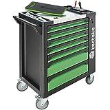 tectake 403385 Werkzeugwagen gefüllt mit Werkzeug, 1599-tlg, Werkstattwagen mit 7 Schubladen, 6 bestückte Schubfächer, abschließbar, Montagewagen auf Rollen, schwarz grün