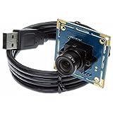 ELP 0,3MP Mini-VGA-USB-Kamera Modul mit 3,6-mm-Objektiv, 480P-Webcam-USB kompatibel für Windows Linux,UVC OV7725-Sensor-Plug-and-Play-Kameras USB30W04MT-L36