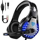 HEYSTOP Gaming Headset für PS4 PC, 3.5mm Kopfhörer LED Sound Professional Kopfhörer mit Mikrofon...