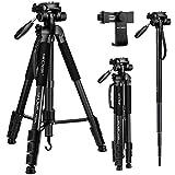 K&F Concept 177cm Leichtes Stativ Kamera Stativ mit Handy Halterung und Einbeinstativ, Stativ aus Aluminium mit 3-Wege-Schwenkkopf für Smartphone DSLR SRL Canon Nikon Sony Olympus