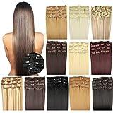 OUBO Clip in Extensions Haarteile für eine komplette ganzen Kopf Haarverlängerung Haarverdichtung glatt 135g 145g hochwertiges dickes Haar 7 Tressen 16 Clips 45cm 55cm Top -1# Schwarz, 55cm