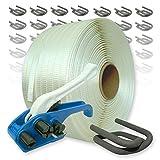 Umreifungsset gewebt 25 mm mit Spanngerät, 500 m Umreifungsband und Verschlussklemmen